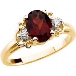 14K Yellow Mozambique Garnet & .06 CTW Diamond Accented Ring
