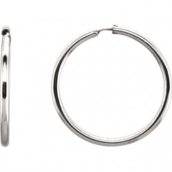 Sterling Silver 19mm Endless Hoop Tube Earrings