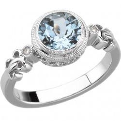 Sterling Silver Aquamarine & .02 CTW Diamond Ring