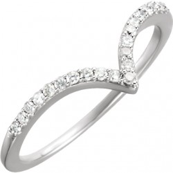 "14K White 1/6 CTW Diamond ""V"" Ring Size 7"