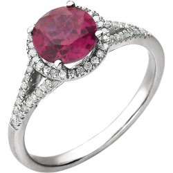 14K White Lab Grown Ruby & 1/6 CTW Diamond Ring