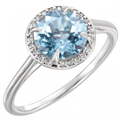 14K White Sky Blue Topaz and .05CTW Diamond Ring