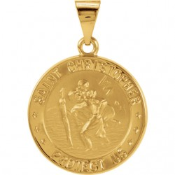 14K Yellow 15mm Hollow Round St. Christopher Medal
