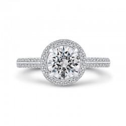 14K Two-Tone Gold Round Cut Diamond Double Halo Engagement Ring (Semi-Mount)