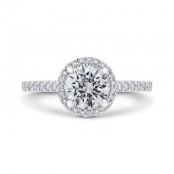 Round Diamond Halo Engagement Ring In 14K White Gold (Semi-Mount)
