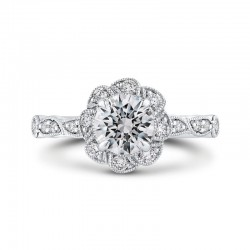 14K Two-Tone Gold Round Diamond Floral Halo Engagement Ring (Semi-Mount)