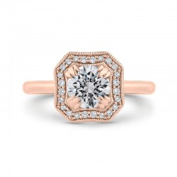 14K Rose Gold Round Diamond Halo Engagement Ring with Euro Shank (Semi-Mount)
