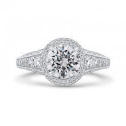 14K Two-Tone Gold Round Cut Diamond Halo Engagement Ring (Semi-Mount)