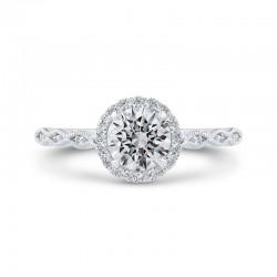 14K Two-Tone Gold Diamond Halo Engagement Ring (Semi-Mount)