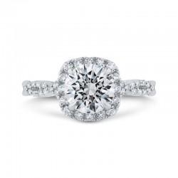 14K White Gold Split Shank Round Diamond Halo Engagement Ring (Semi-Mount)