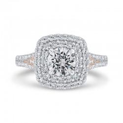 14K Two-Tone Gold Round Diamond Double Halo Engagement Ring (Semi-Mount)