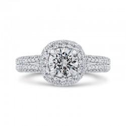 14K White Gold Round Diamond Double Halo Engagement Ring with Split Shank (Semi-Mount)