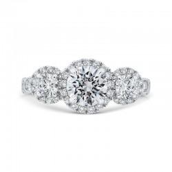 14K White Gold Round Diamond Three Halo Engagement Ring with Round Shank (Semi-Mount)