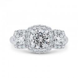 14K White Gold Round Cut Diamond Three-Stone Halo Engagement Ring (Semi-Mount)