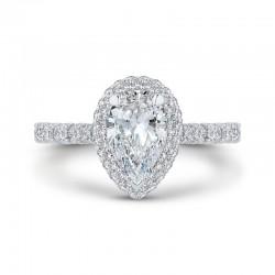 14K White Gold Pear Diamond Halo Engagement Ring (Semi-Mount)
