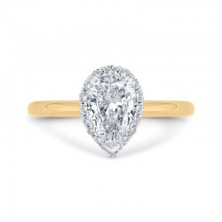 14K Two-Tone Gold Pear Diamond Halo Engagement Ring (Semi-Mount)