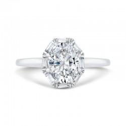 14K White Gold Oval Cut Diamond Halo Engagement Ring (Semi-Mount)