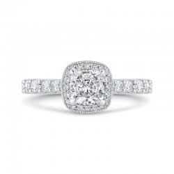 14K White Gold Cushion Diamond Halo Engagement Ring (Semi-Mount)