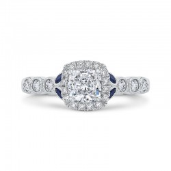 14K White Gold Cushion Cut Diamond Halo Engagement Ring with Sapphire (Semi-Mount)