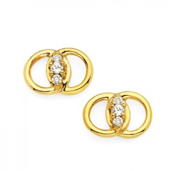 DMS/E12 -14k Yellow Gold Diamond Marriage Symbol Earrings