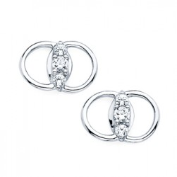 DMS/E25 -14k White Gold Diamond Marriage Symbol Earrings