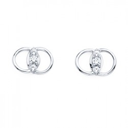 DMS/E50 -14k White Gold Diamond Marriage Symbol Earrings