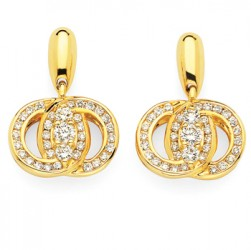 DMS/EDCH100 -14k Yellow Gold Diamond Marriage Symbol Earrings