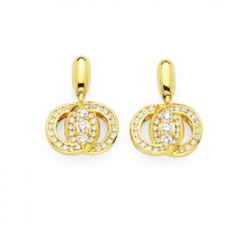 DMS/EDCH200 -14k Yellow Gold Diamond Marriage Symbol Earrings