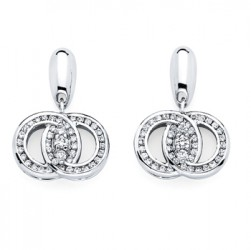 DMS/EDCH50 -14k White Gold Diamond Marriage Symbol Earrings