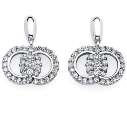 DMS/EDPR200 -14k White Gold Diamond Marriage Symbol Earrings
