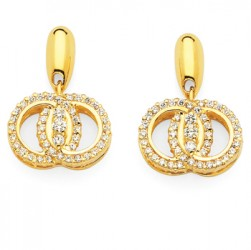 DMS/EDPR50 -14k Yellow Gold Diamond Marriage Symbol Earrings