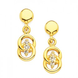 DMS/EV12 -14k Yellow Gold Diamond Marriage Symbol Earrings