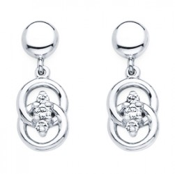 DMS/EV50 -14k White Gold Diamond Marriage Symbol Earrings