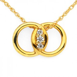 DMS/P05 -14k Yellow Gold Diamond Marriage Symbol Necklace