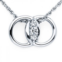 DMS/P12 -14k White Gold Diamond Marriage Symbol Necklace