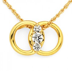 DMS/P25 -14k Yellow Gold Diamond Marriage Symbol Necklace
