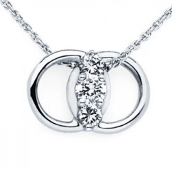 DMS/P50 -14k White Gold Diamond Marriage Symbol Necklace