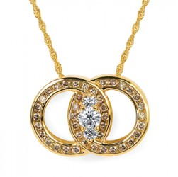 DMS/PCH100BR -14k Yellow Gold Diamond Marriage Symbol Necklace