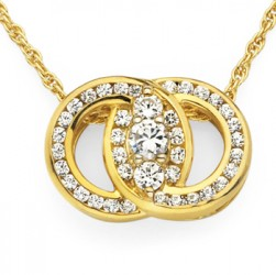DMS/PCH75 -14k Yellow Gold Diamond Marriage Symbol Necklace