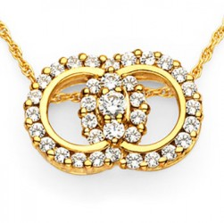 DMS/PR100 -14k Yellow Gold Diamond Marriage Symbol Necklace