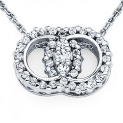 DMS/PR50 -14k White Gold Diamond Marriage Symbol Necklace
