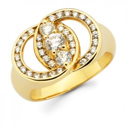DMS/RCH50 -14k Yellow Gold Diamond Marriage Symbol Ring