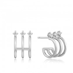 Triple Mini Hoop Stud Earrings