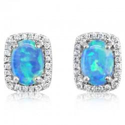 White Gold Australian Opal Stud Earrings with diamonds