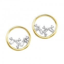 14K Yellow Gold Scattered Bagg Dia Earrings  .07