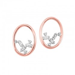 14K Rose Scattered Bagg Dia Earrings  .05