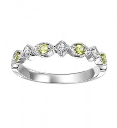 10K Peridot & Diamond Mixable Ring