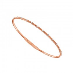 14KT Rose Gold Diamond Cut Flex Bracelet