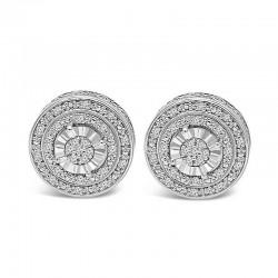 Sterling Silver halo diamond earrings