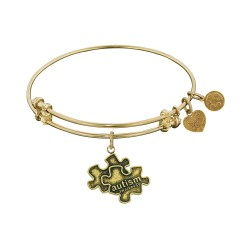 """Antique Yellow Smooth Finish Brass Generation Rescue """"Autism"""" Angelica Bangle"""
